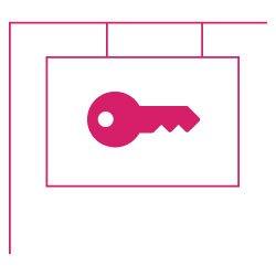 Icon Immobilie vermieten: Maklergalgen mit Schlüssel