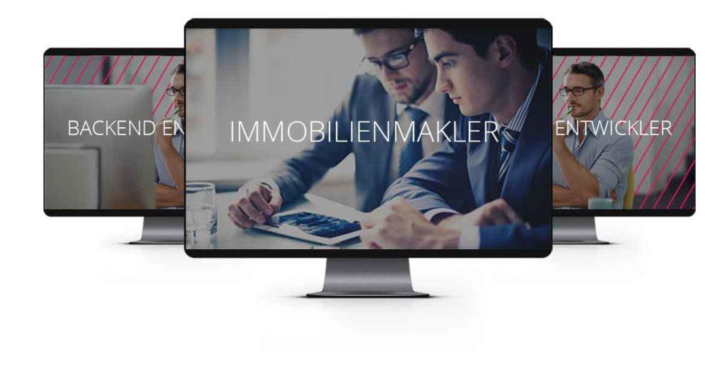 3 iMac Computer mit Bildern von einem Makler und 2 Entwicklern zwecks Jobausschreibungen von Hamburgs Immobilienmakler