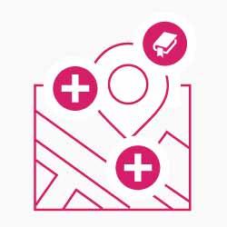 Icon: Karte mit lagerelevanten Faktoren, die Einfluss auf den Immobilienwert haben