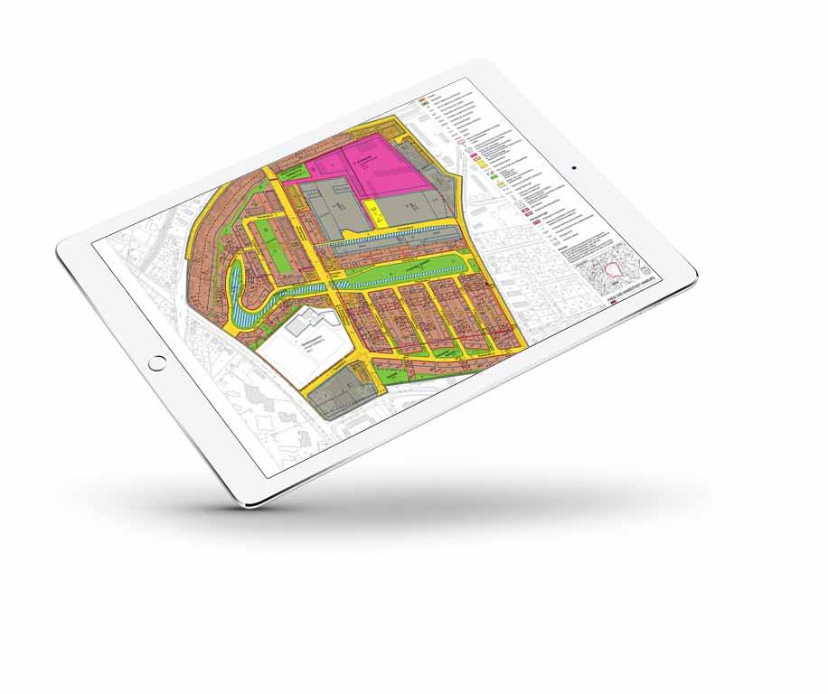 Tablet iPad mit Bebauungsplan für Grundstücke in Hamburg