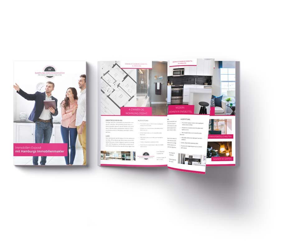 Immobilien Design Expose Broschüre für Immobilienverkauf von Hamburgs Immobilienmakler