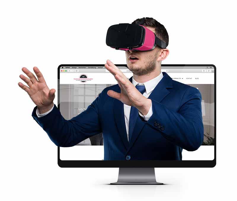 Immobilienkäufer hat VR Brille auf schaut sich eine Immobilienbesichtigung am Computer an