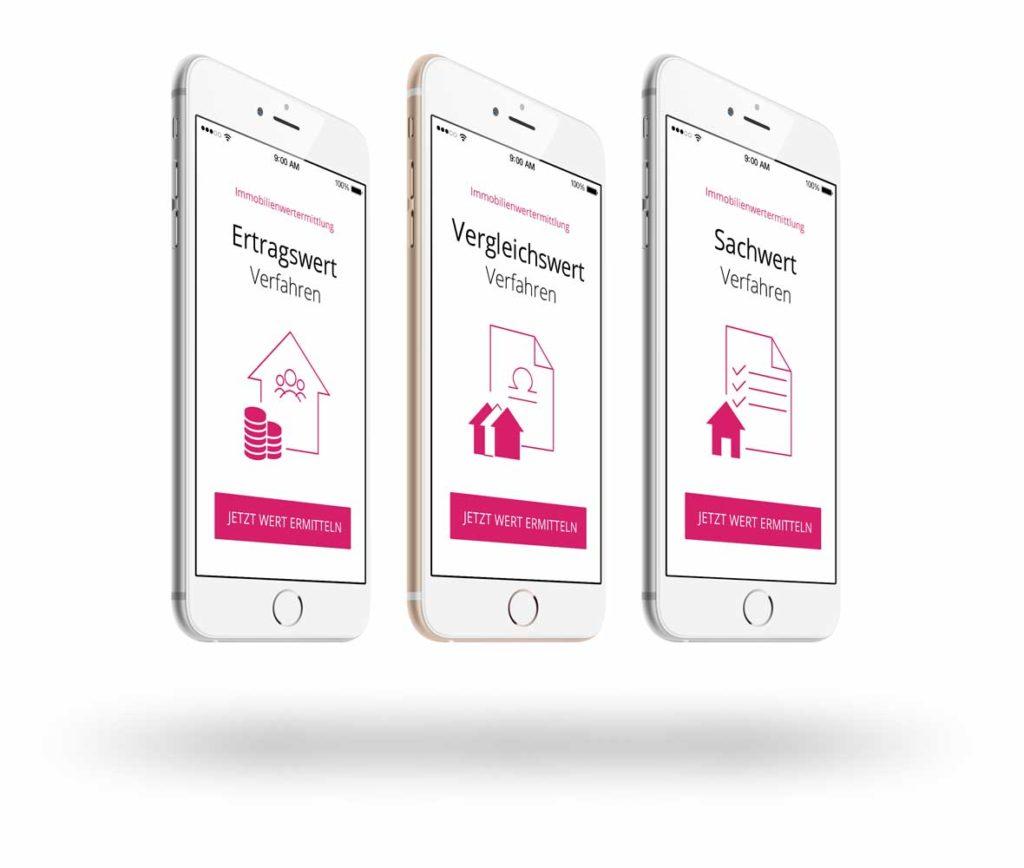 drei iPhones mit Abbildungen zu den verschiedenen Immobilienbewertungsverfahren