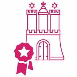 Icon: Hamburg Schloss mit Auszeichnungswimpel stellt die Expertise der Makler für die Immobilienvermietung dar
