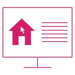Icon: Computer mit geöffnetem Formular zur Ermittlung des Verkehrswertes einer Immobilie