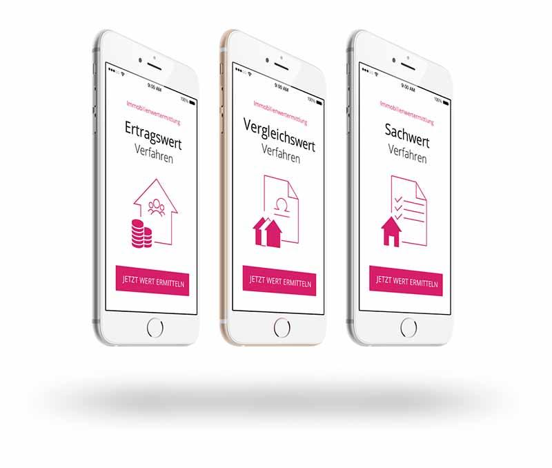 Smartphones mit Interfaces zu den den Bewertungsverfahren zur Ermittlung des Verkehrswertes einer Immobilie
