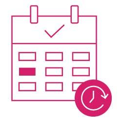 Icon: Kalender mit eingetragenem Termin zur Hausbewertung