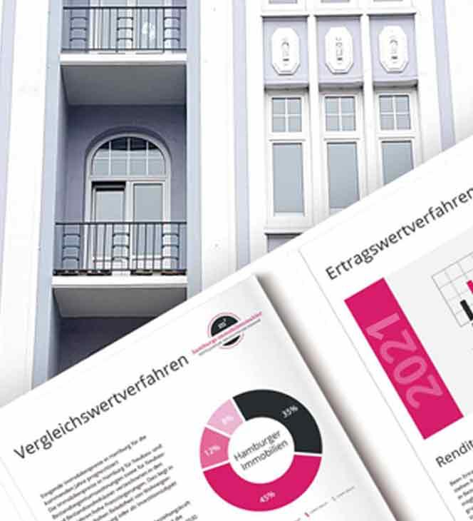 Abbildung einer Altbau Eigentumswohnung in Hamburg mit einer Grafik von Immobilien- Bewertungsmagazinen für 2021 von Hamburgs Immobilienmakler