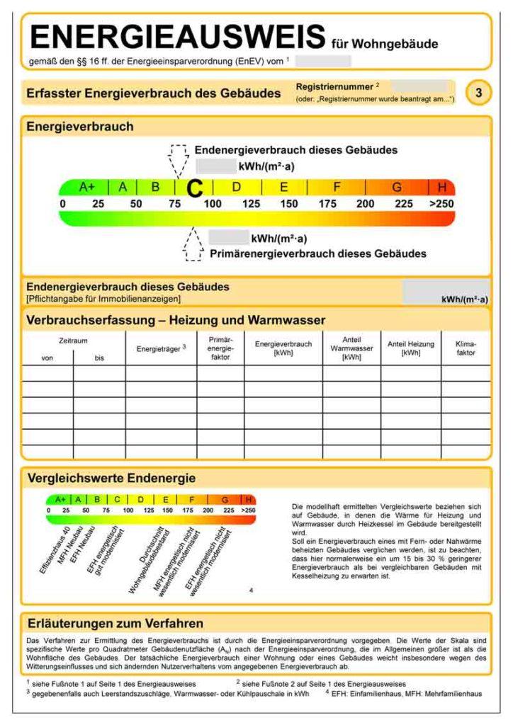 Energieausweis: Verbrauchsausweis Muster