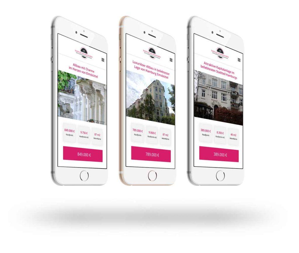 Immobilien verkaufen in Hamburg Eimsbüttel mit Hamburgs Immobilienmakler: Unsere Angebote auf Smartphones