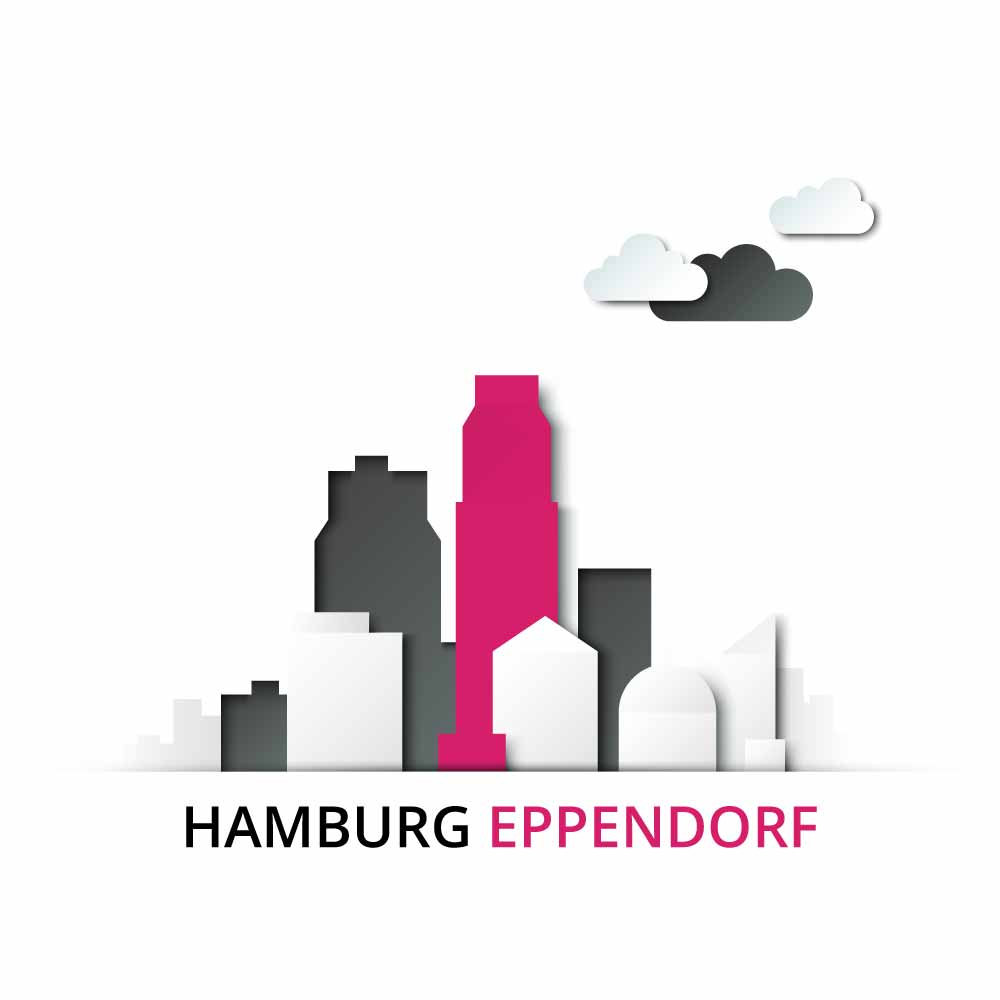 Stadtteil Hamburg Eppendorf mit eingefärbter Immobilie von Hamburgs Immobilienmakler