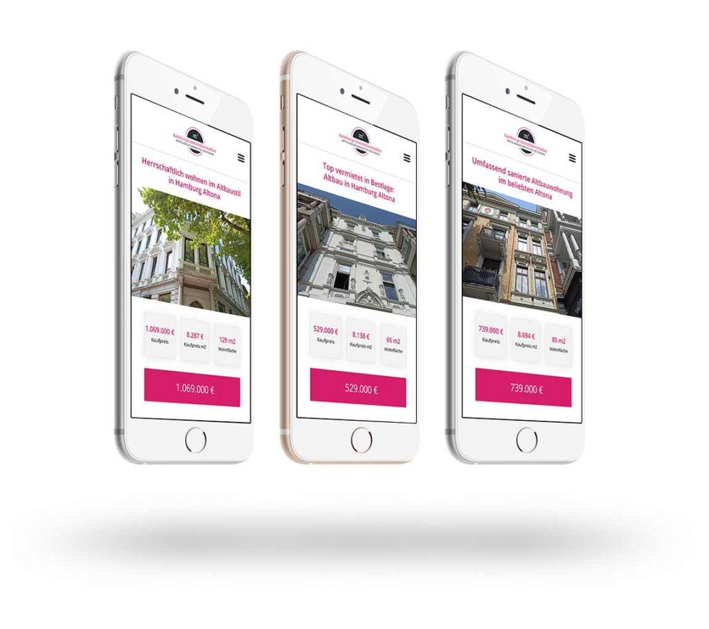 Drei iPhones mit Inseraten zu Immobilien aus Altona von Hamburgs Immobilienmakler
