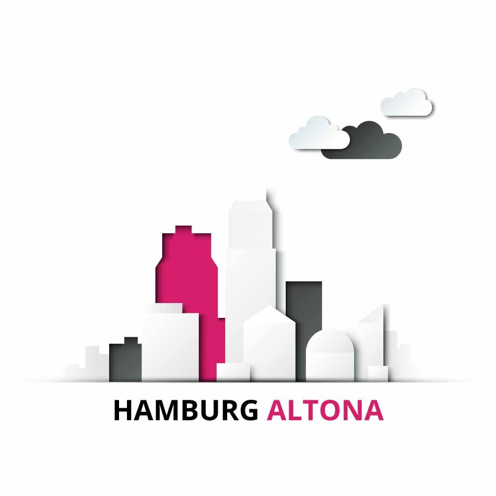 Stadtteil Hamburg Altona mit einer Immobilie eingefärbt