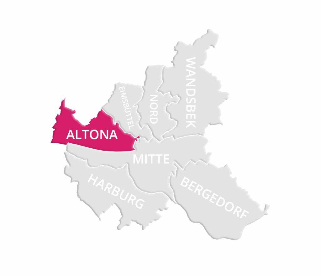 Makler Altona: Karte von Hamburg mit dem Stadtteil Altona