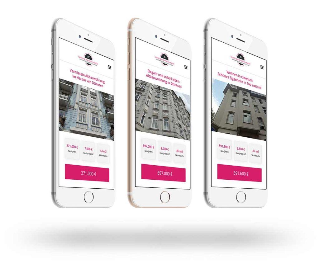 Smartphones mit Immobilienanzeigen von Immobilien aus Ottensen