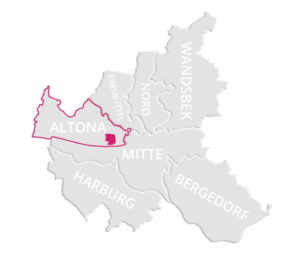 Makler Ottensen: Karte von Hamburg mit dem Stadtteil Ottensen markiert