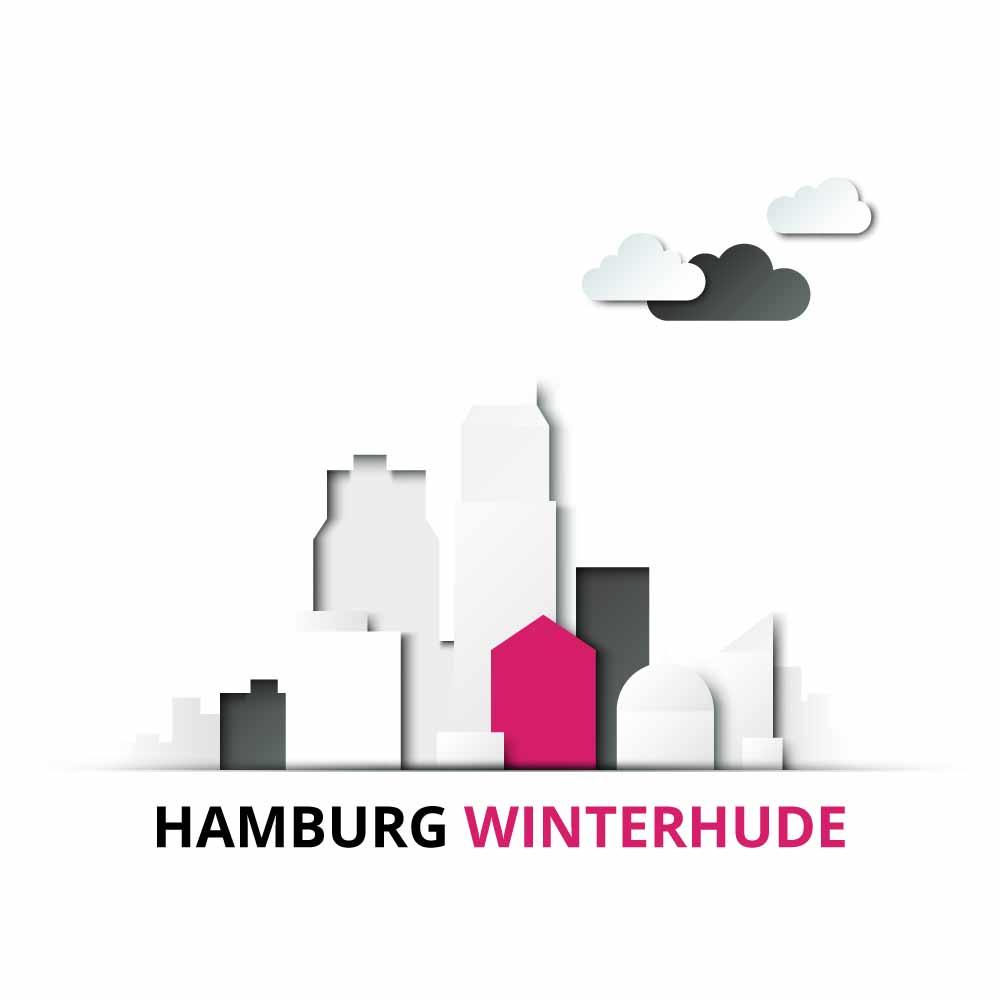 Ein Modell der Stadt Hamburg mit dem Stadtteil Winterhude