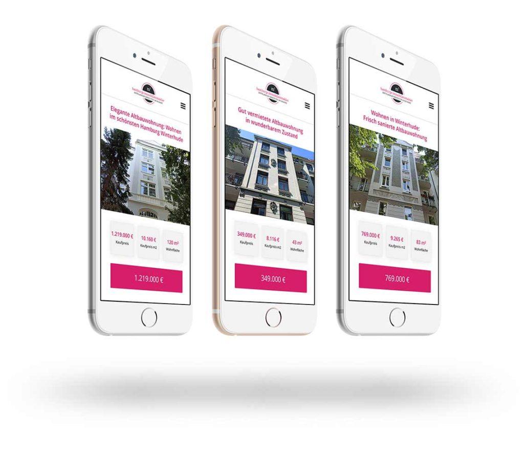 Drei Smartphones mit Immobilienanzeigen aus Winterhude von Hamburgs Immobilienmakler
